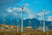 picture of windy  - Windy Mountains Spot and Wind Turbines in Souther California Palm Springs Area - JPG