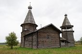 Ancient Wooden Church In North Russia Near Kargopol