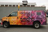 Van painted with graffiti at East Williamsburg in Brooklyn