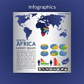 Infographic Map Of Africa Show Population And Consumption Statistic Information.