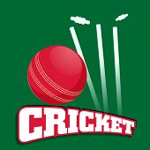 Shiny red ball hitting wicket stumps on green background.