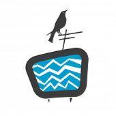vector illustration of a bird sitting on tv