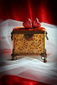 Antique jewellery casket with hearts and bridal veil