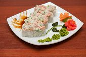 Roll with cream sauce and salmon fish