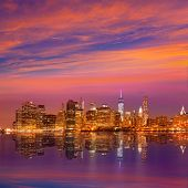 Manhattan sunset skyline New York NYC NY in USA