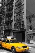 New York Soho buildings yellow cab taxi of Manhattan New York City NYC USA