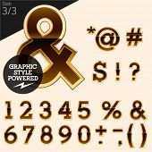 Brown alphabet with golden border. Slab. File contains graphic styles available in Illustrator. Set 3