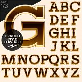 Brown alphabet with golden border. Slab. File contains graphic styles available in Illustrator. Set 1