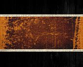 brown grunge rustic canvas banner textured with black wood background