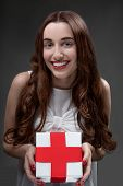 Woman with red cross