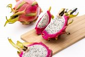 Cut Pitaya Pieces On A Wooden Cutting Board