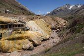 foto of aconcagua  - Puente del Inca historical landmark in the Andes Mountain Range - JPG