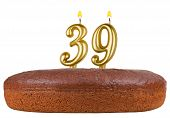 Birthday Cake Candles Number 39 Isolated