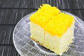 Gold Egg Yolk Thread Cake. Thailand Dessert.