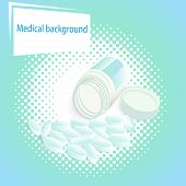Medical  Background With Pills And A Jar With A Lid