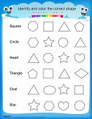 Identify And Color The Correct Shape Worksheet