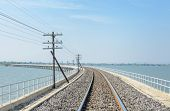 Railway Track Lead Across The Lake