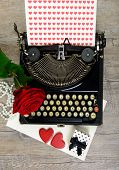 Typewriter With Hearts And Rose