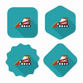 Transportation Bulldozer Flat Icon With Long Shadow,eps10