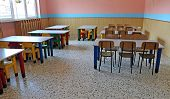 Large Refectory Of Kindergarten With Tables And Chairs