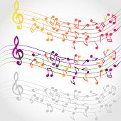 picture of g clef  - Colorful wavy music background with notes and g - JPG