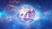 picture of planet earth  - Planet Earth with sun in universe or space - JPG