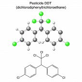 Ddt Pesticide - Structural Chemical Formula And Model