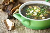 Sorrel Soup With Dried Mushrooms