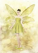Beautiful Young Woman As Spring Fairy