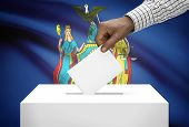 Voting Concept - Ballot Box With Us State Flag On Background - New York