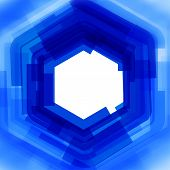 Vector background with blue blurred hexagon
