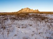 Peaks Rise In The Badlands In Winter