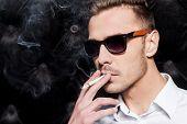 Smoking Handsome Man in Sunglasses