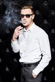 Smoking Handsome Man in Sunglasses