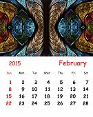 2015 Calendar. February.fractal Pattern In Stained Glass Style.