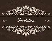 vector brown vintage hand drawn ornated invitation
