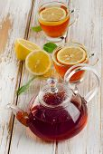Healthy Hot  Tea And Lemon On  Wooden Table