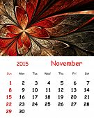 2015 Calendar. November.fractal Pattern In Stained Glass Style.
