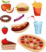 picture of hot dog  - vector illustration of a fast food set - JPG