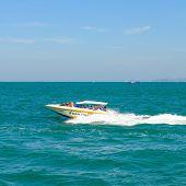 Speedboat Navigating In The Gulf Of Pattaya,thailand.
