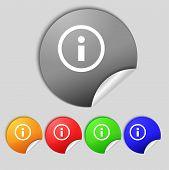 Information Sign Icon. Info Speech Bubble Symbol. Set Colour Buttons. Vector