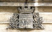 Blazon of the city of Paris (France), emblem of Paris cut in the stone