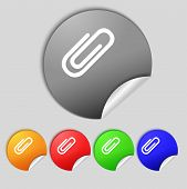 Paper Clip Sign Icon. Clip Symbol. Set Colourful Buttons. Vector