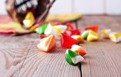 Basket With Colorful Sweet Candies