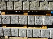 Rough blocks of granite stock