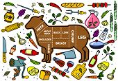 stock photo of lamb shanks  - Vector illustration of beef pork lamb and chicken vegetables image bread drinks and cooking tools - JPG