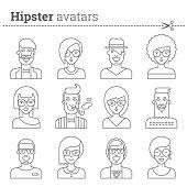 pic of avatar  - Creative set of hipster avatars for social media or web site - JPG