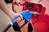 picture of gasoline station  - Closeup of man pumping gasoline fuel in car at gas station - JPG