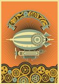 picture of mechanical drawing  - Steampunk poster with a picture of the airship on a background of gears and mechanical components - JPG