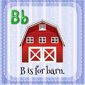 pic of letter b  - Flashcard letter B is for barn - JPG